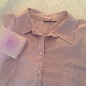 3X Lavender Short Sleeve Button-down Blouse